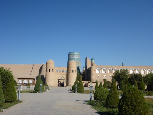 West gate of the ancient, heritage listed Ichan Kala, the walled inner city of Khiva