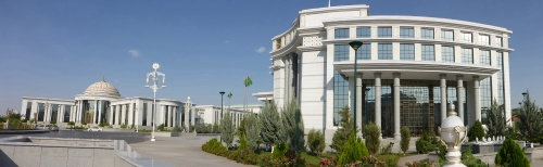 Oops, photo of our hotel was taken just before I was told no photos were allowed, Ashgabat, Turkmenistan