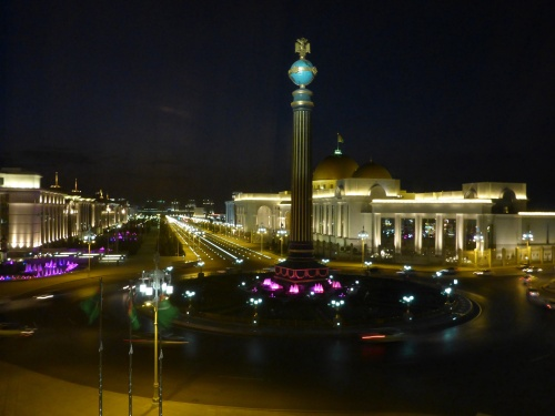 "The ""dead road"" with lit street markings and synchronised coloured fountains, Ashgabat, Turkmenistan"
