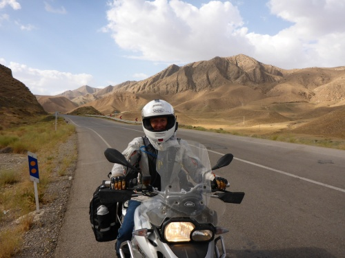 We are now riding in Iran and Anne is very happy