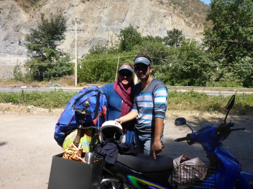 Great sheesha or hubbly bubbly pannier for this couple on their way to the Caspian sea - Chalus road, Iran