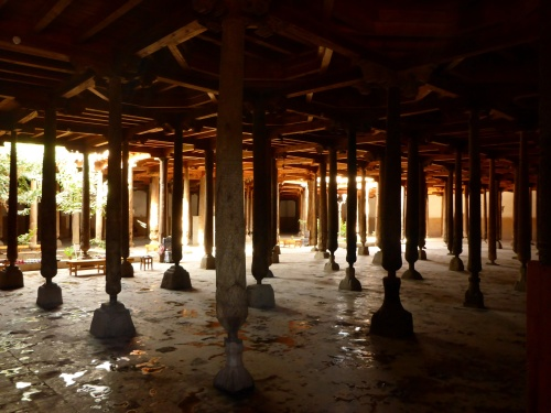 The flat ceiling of the small Juma mosque is supported by 215 wooden pillars