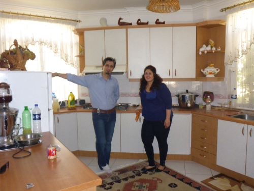 Sohrab and Samone in the kitchen of her parents's villa which we have been loaned for our anniversary