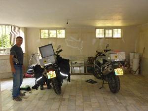 Our bikes on the marble floor of the villa's garage - Karaj, Iran