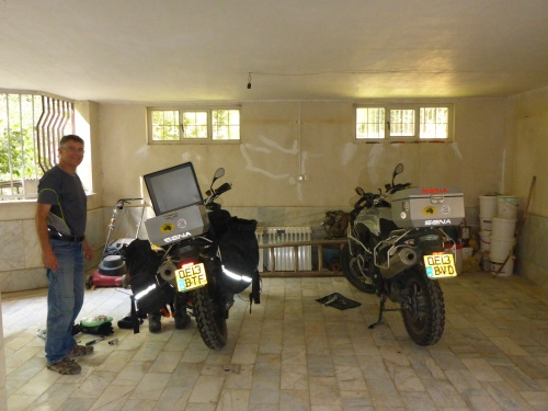 Our bikes on the marble floor of the villa's garage - Karaj, Iran