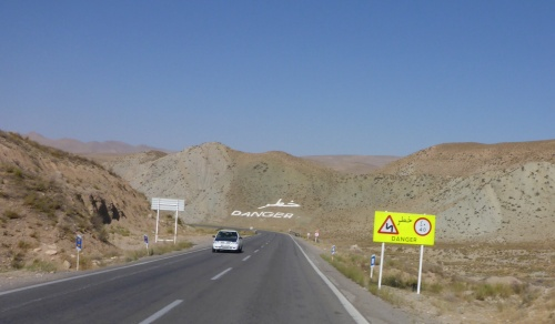Glad the road and mountainside signs are in English too - Iran