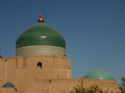 Stunning green dome in Ichan Kala, Khiva, Uzbekistan