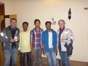 Aditya and his friends Imtiya and Anwar who helped us find our hotel in Forbesganj