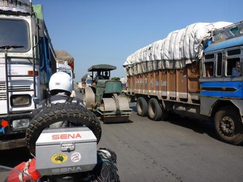 We are the only ones in this photo going in the right direction on this dual carriage way!!  Heading to Siliguri, India
