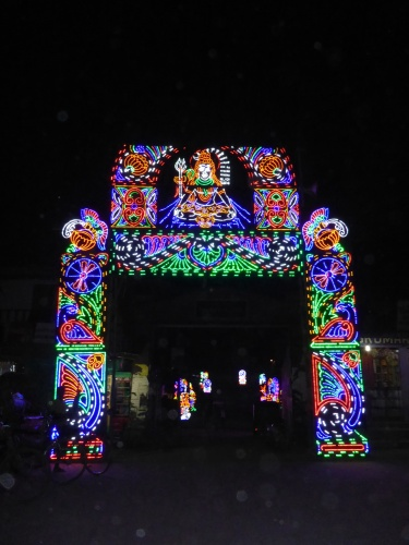 Light display over tiny street in Guwahati