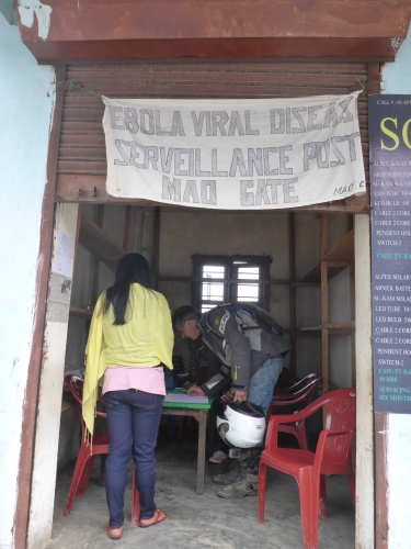Ebola check mandatory formall foreignes at Mao, Manipur state, India