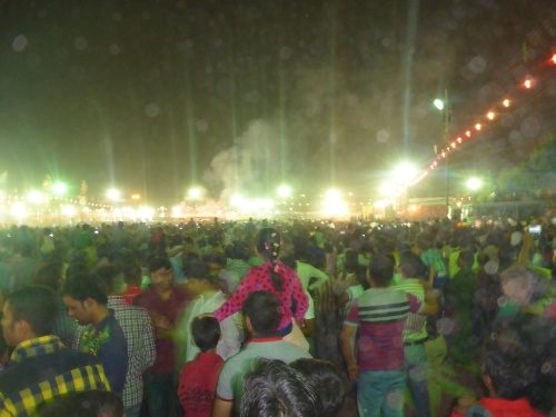 Fireworks are starting at Ramlila ground, Delhi - time to get out of the enclosure
