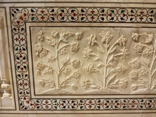 Plant motifs on carved marble dado, Taj Mahal, Agra, India