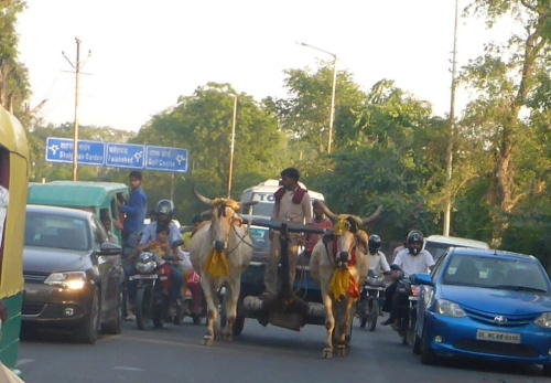 Typical traffic in October, Agra, India