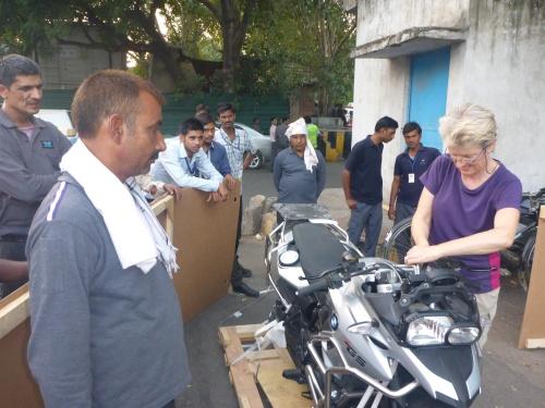 Anne starting the exciting of reassembling Streak outside Delhi customs
