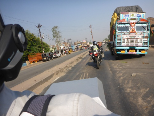 Great Indian trucks and great Indian roads - best not to linger beside these trucks for too long