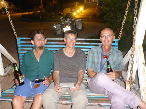 Bike maintenance finished, time for a birthday boy beer at Kyaikto, Myanmar
