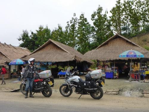 Breakfast stop by the Meekong, Laos