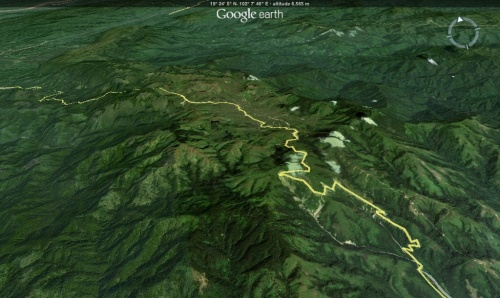 Google Earth view of our road to Kasi, Laos