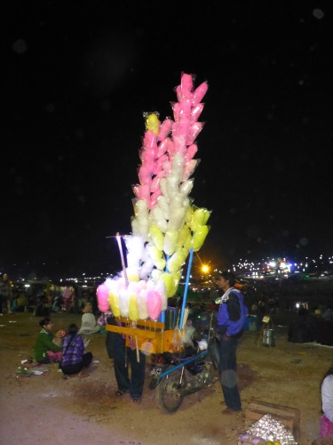Candy floss seller at the Taunggyi fire balloon festival, Myanmar