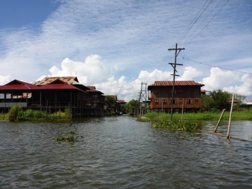 """""""Street"""" and powerlines on Inle Lake, Myanmar"""