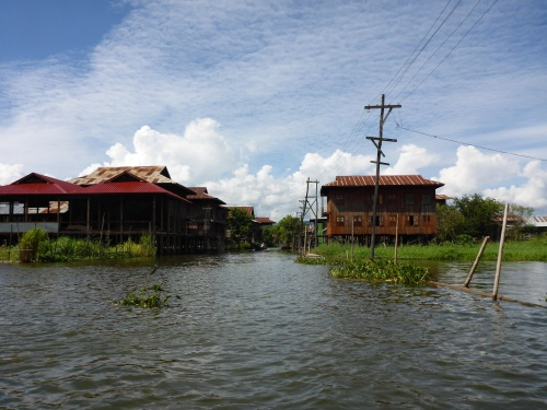 """Street"" and powerlines on Inle Lake, Myanmar"