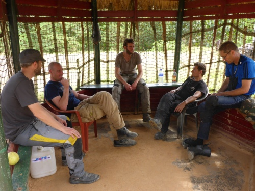 After our Ebola check at the India-Myanmar border at Moreh, we took over the hut while we waited for our carnets to be processed