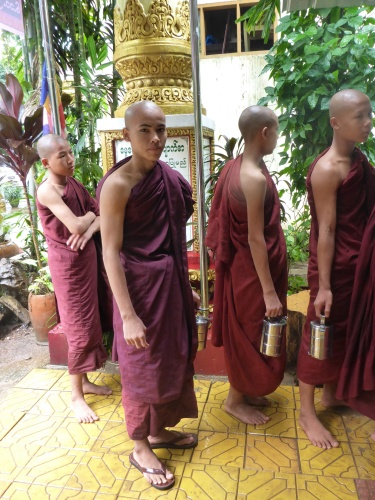 Monks queueing for lunch, Yangon