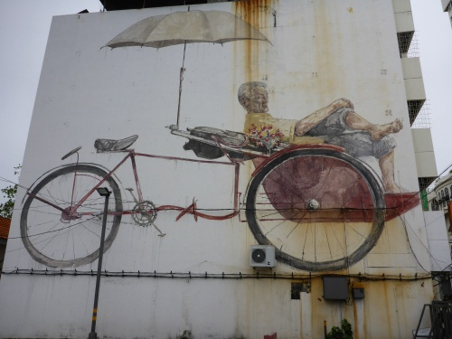 Trishaw Man, Ernest Zacharevic's last mural, George Town, Penang