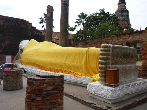 37m long reclining Budha, Wat Yai Chai Monghol,  Ayutthaya, Thailand