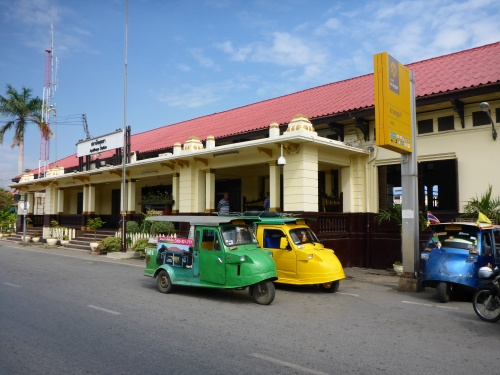 Ayutthaya train station with local tuk-tuks