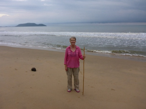 Anne is loving this deserted beach at Bang Saphan, Thailand