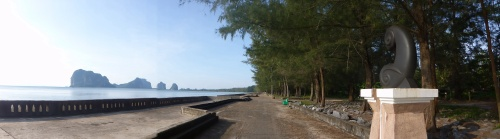 Pak Meng beach with tsunami wall, Thailand