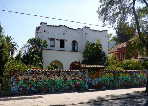 Wealthy people and businesses pay for street art, Bellavista,, Santiago, Chile