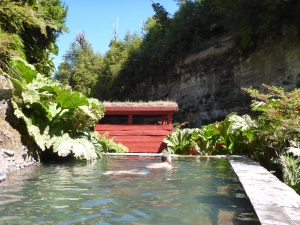 Enjoying a soak in one of the many pools at Termas Geometricas, Coñaripe, Chile