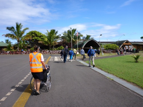 Anthony being wheeled at Mataveri airport
