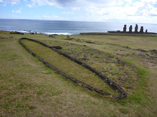Ahu Tahai with a house foundation in the foreground