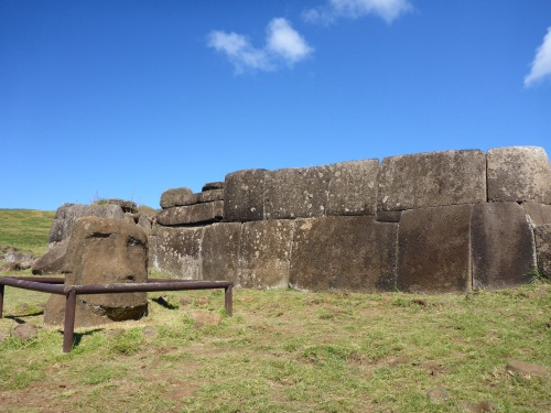 Vinapu I ahu wall, oriented astronomically, each block weighing several tons
