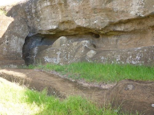 Incomplete moai at Rano Raraku quarry