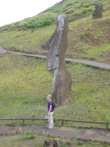 Showing the scale of these torsos at Rano Raraku