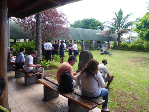 Mataveri airport at Easter Island and our flight crew having a meeting in the garden