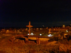 Hanga Roa cemetery at night