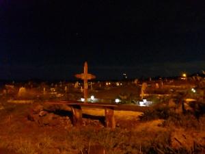 Hanga Roa cemetery at night