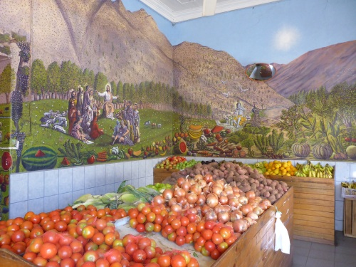 Amazing mural inside Vicuña greengrocer