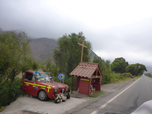 Shrine to accident victim in Chile
