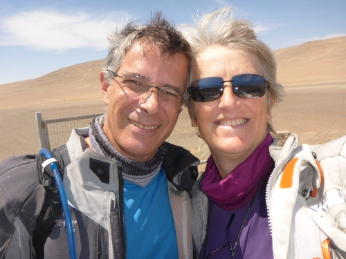 Time for a selfie in the windy Atacama desert - runway in the background