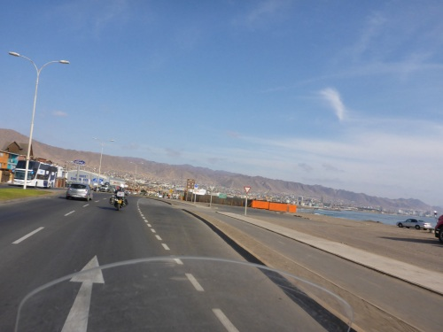 Heading back into Antofagasta in search of a new hotel