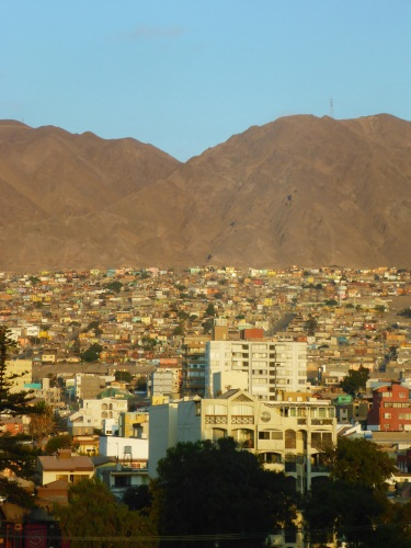 View from our hotel room of the colourful houses of Antofagasta