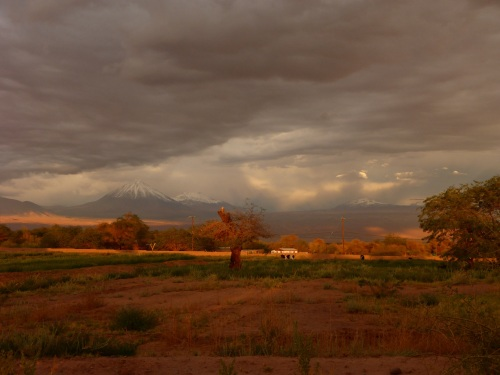 The sunset view from our cabin at San Pedro de Atacama