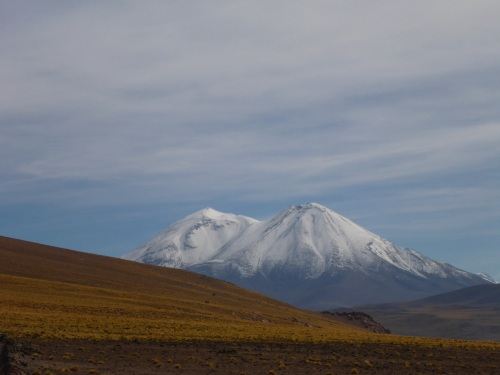 Lascar volcano seen from Miscanti lagoon
